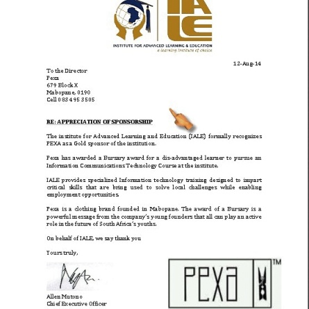 This is what I mean when I say put People before Profit. In their first 3 months Pexa Brand is already offering bursaries.